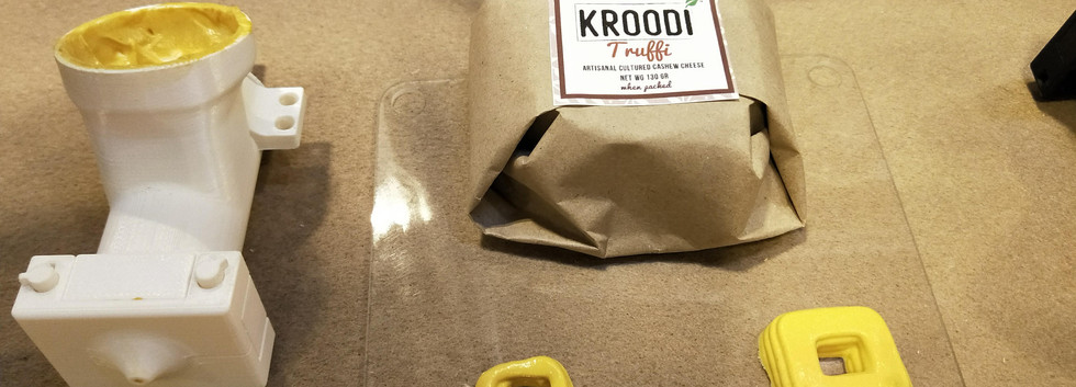 Kroodi Cheese 3D printed as squares