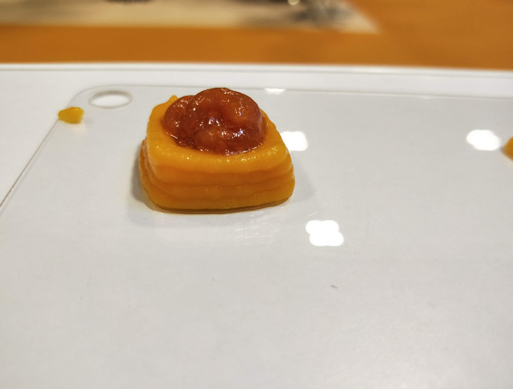 Carrot mount filled with tomato puree