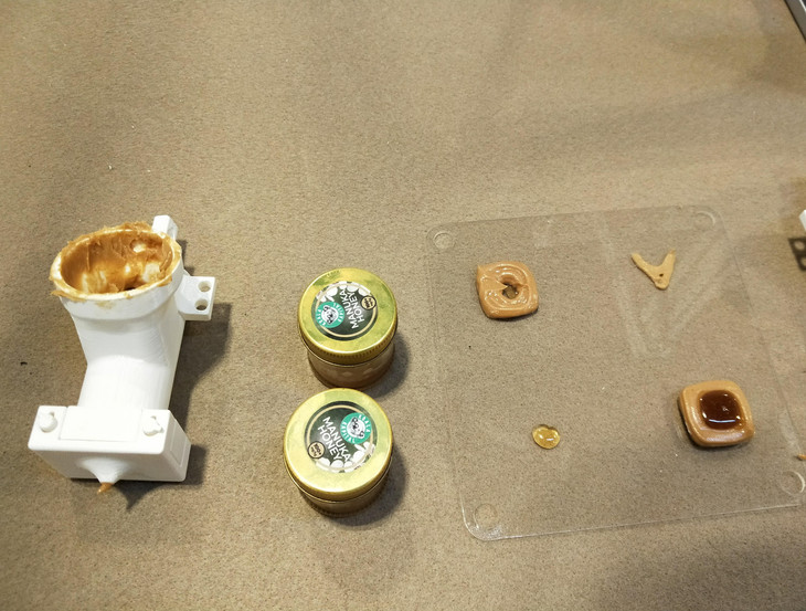 Peanut butter extruder with the prints