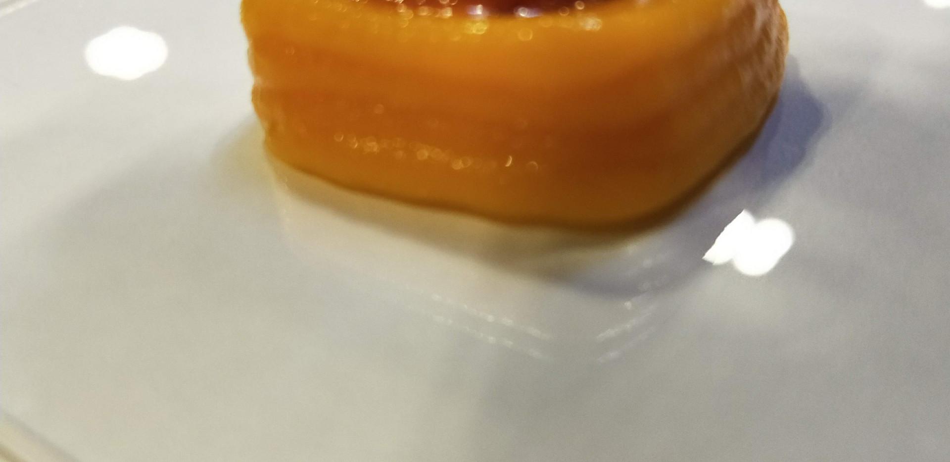 Tomato puree poured into carrot paste mount