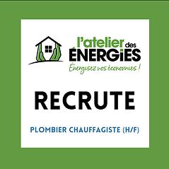 L'ATELIER DES ENERGIES RECRUTE - Plombie