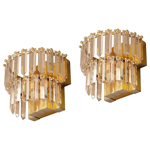 Pair of Mid Century Modern French crystal, brass & chrome sconces