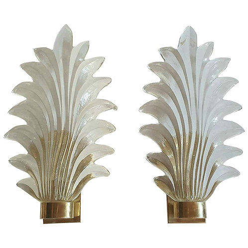 Pair of Murano Clear Glass and Brass Leaf Sconces, Mid-Century Modern, 1970s