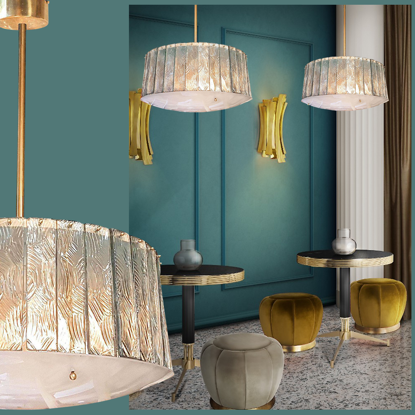 Mid century modern glass & brass chandeliers, attr to Fontana Arte, 2 av