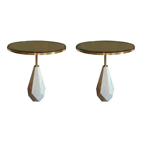 Pair Of Mid Century Modern Italian Round Coffee Tables In White