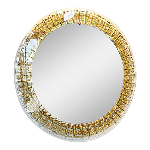 Cristal Arte round mid century modern wall mirror, Italy 1960s