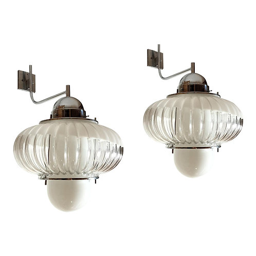 Pair of large Mid Century Modern wall sconces/lanterns, attributed to Guzzini