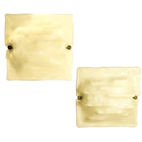 Mid Century Modern Signed Venini White Murano Glass Wall Sconces, 1970s