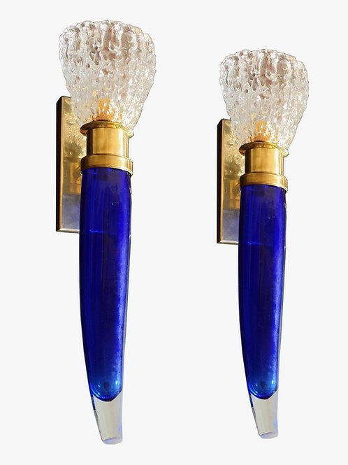 Blue & Clear Mid Century Modern Murano Glass Sconces, attr to Seguso Italy