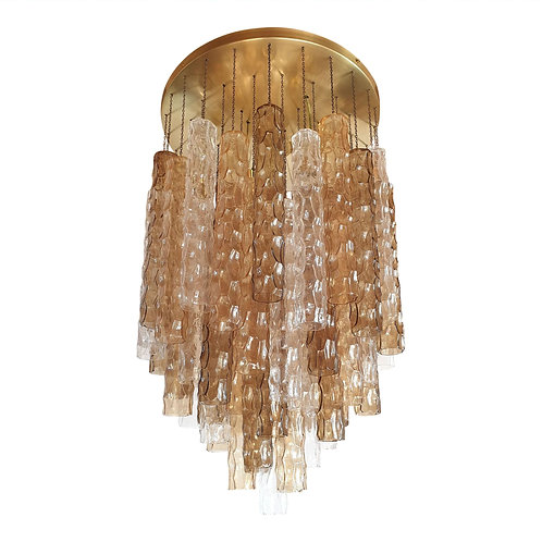 Large Mid Century Modern Bamboo Murano glass/brass flush mount by Mazzega