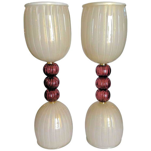 Pair of Murano mid century modern purple/ivory Lamps by Barovier