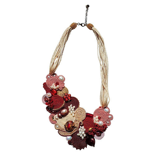 Red and gold Murano glass beads & silk string necklace by artist Paola B.