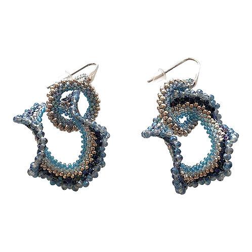 Pair of drop earrings, handmade blue & silver Murano glass by artist Paola B.