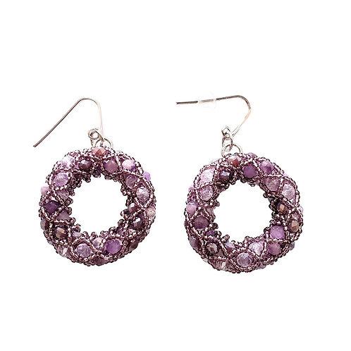 Pair of Purple Murano glass beads handmade earrings by artist Paola B.