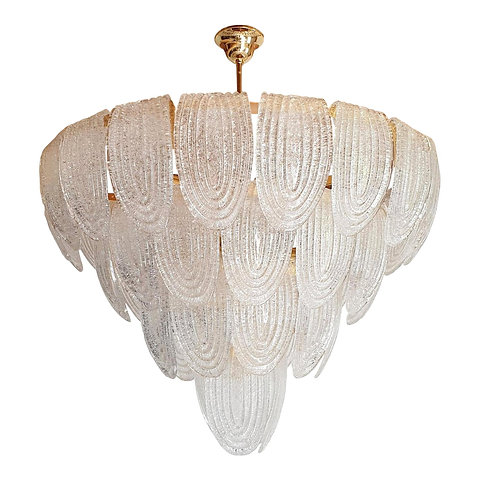 Large Mid Century Modern Translucent Murano Glass Chandeliers By Mazzega