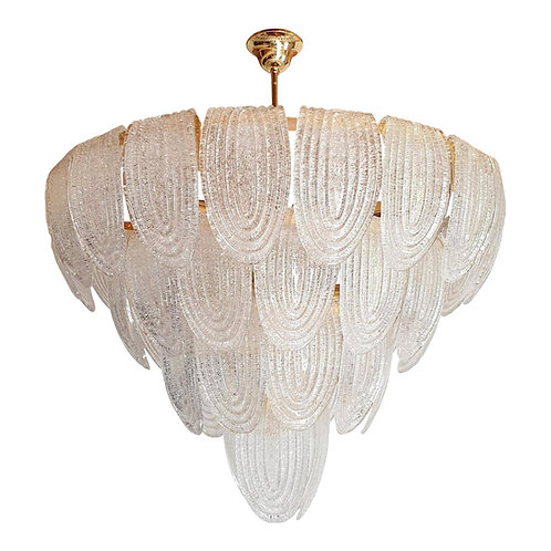 Mid-Century Modern large translucent Murano glass chandelier, Mazzega Italy