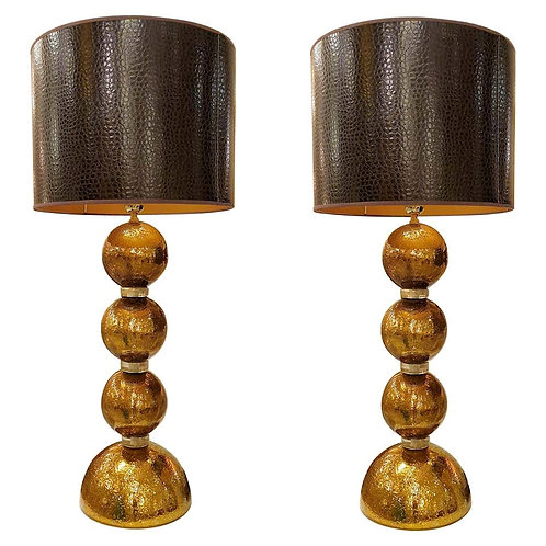Large Gold Mirror Mid Century Modern Murano Glass Table Lamps, 1970s