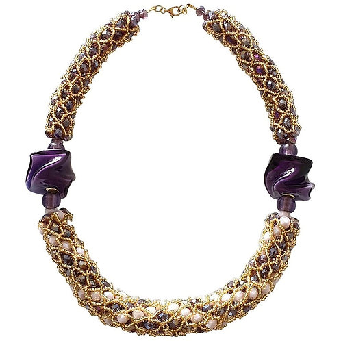 Purple & gold Murano glass beads, handmade by artist Paola B. fashion necklace