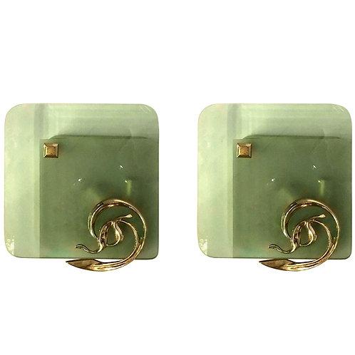 Brass & Green Glass Mid Century Modern Sconces, Fontana Arte Style 1960s