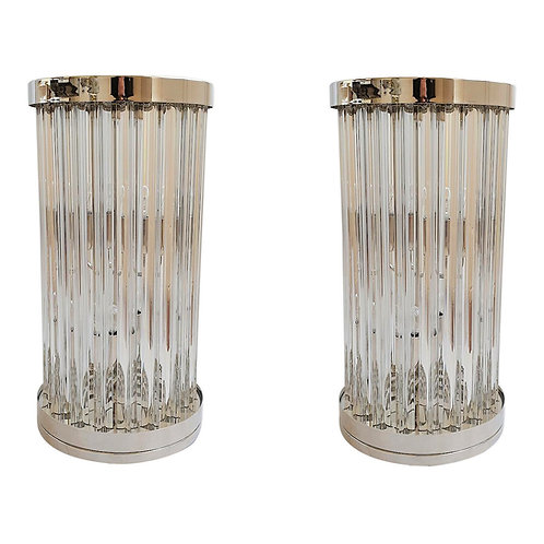 Clear Murano Glass & Nickel Table Lamps by Venini Italy, Mid-Century Modern