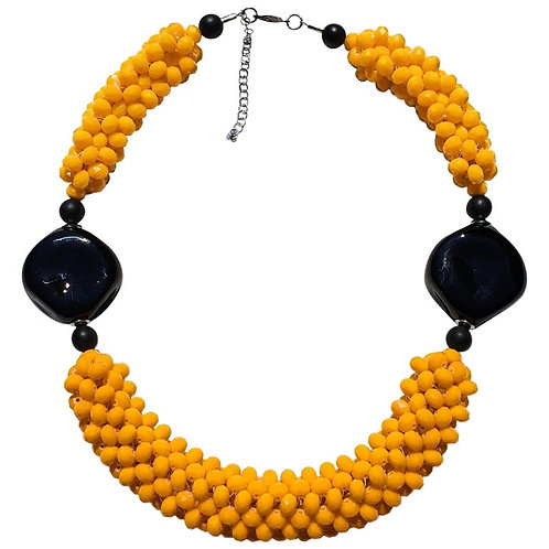 Yellow & Black Murano glass faceted beads necklace, hand made by artist Paola B.