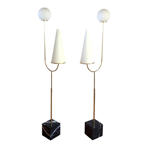Large Mid-Century Modern Marble, Brass & Glass Floor Lamps, Italy 1960s - a Pair