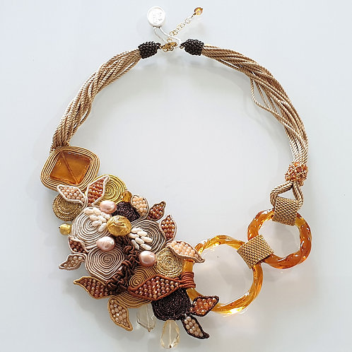 Unique Murano glass beads & fabric costume necklace by artist Paola B.