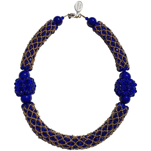 Murano glass beads hand made blue & gold neklace by Venetian artist Paola B.