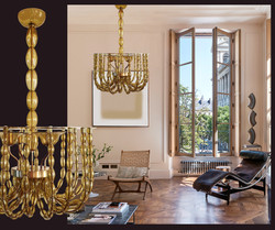 Large Kaki Beige Murano Glass Chandelier, Mid Century Modern, Venini Style 1960s