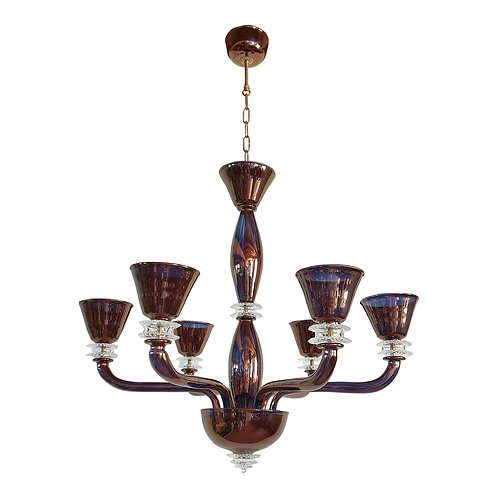 Large Mid-Century Modern Bronze Color Mirrored Murano Glass 6 Lights Chandelier