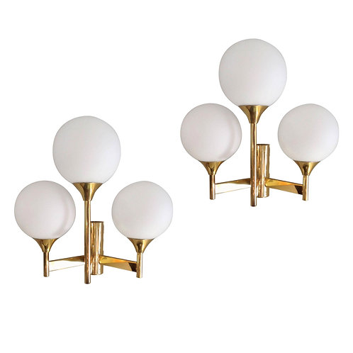 Jakobsson Three Glass Globes & Brass, Mid Century Modern Sconces, 1960s