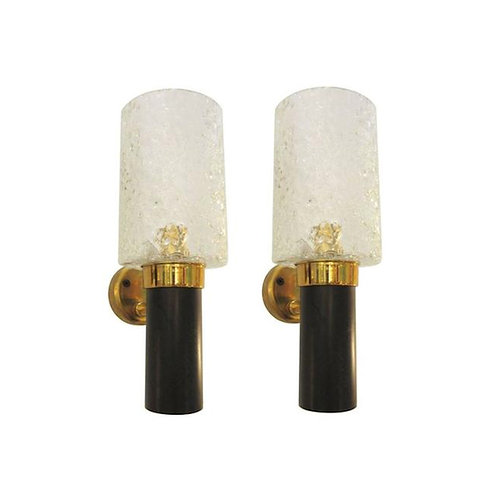 Mid-Century Modern Clear Glass/Black/Brass Small Sconces, France 1950s