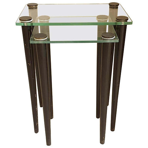 Set of 2 Nesting Tables, Mid-Century Modern, Glass & Black Wood Legs, Italy 1960