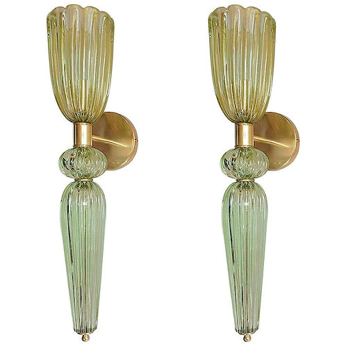 Mid Century Modern Green Murano glass & brass sconces, Barovier Italy 1960s