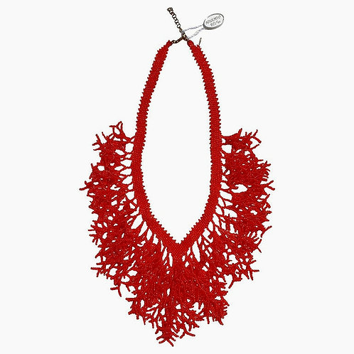 Murano glass beads handmade red coral necklace by artist Paola B.