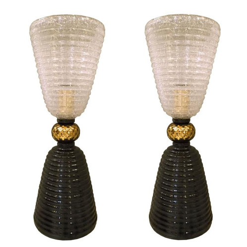 Pair of mid century mdrn murano glass black translucent table murano table lamps pair houston vintage aloadofball Images