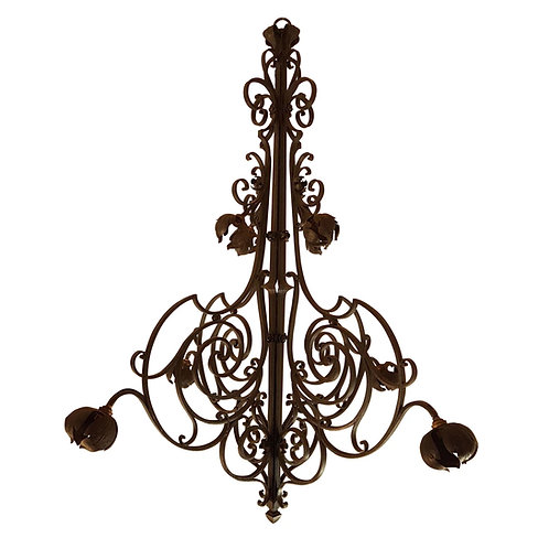 Antique Large Hand-crafted Wrought Iron Signed Chandelier, France 1920s