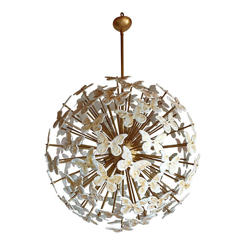 Large Mid Century White Murano Sputnik Chandelier, Colored Through Light