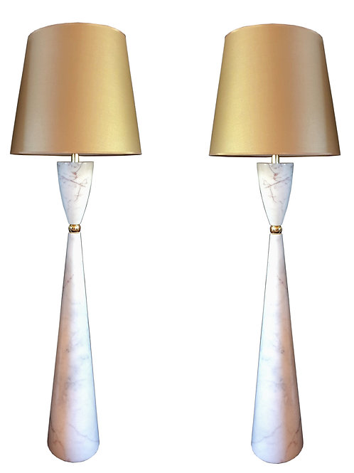 Pair of large marble & brass Mid Century Modern floor lamps, Italy 1980s