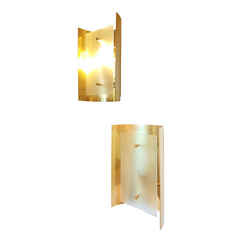 D'Lightus bespoke pair of brass wall sconces, with translucent glass