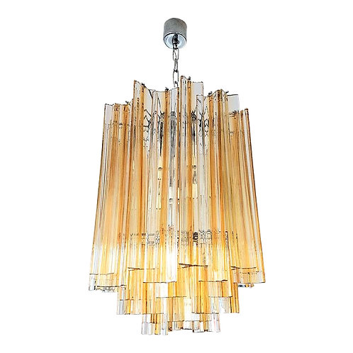 Venini Mid-Century Modern Glass Chandelier, Clear & Amber Color Lines