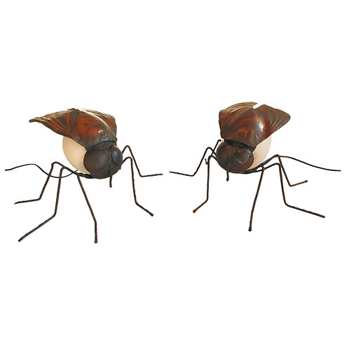 Pair of Mid Century Modern fly shaped table lamps, arts & crafts, France