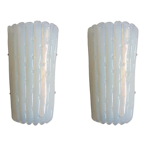 Opaline Murano Glass Mid Century Modern Sconces, Mazzega Style Italy 1970s