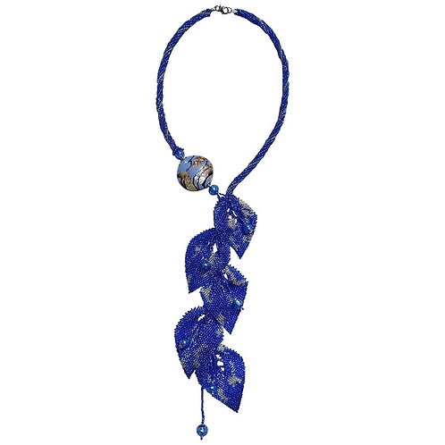 Unique blue Murano glass beads handmade fashion necklace by artist Paola B.