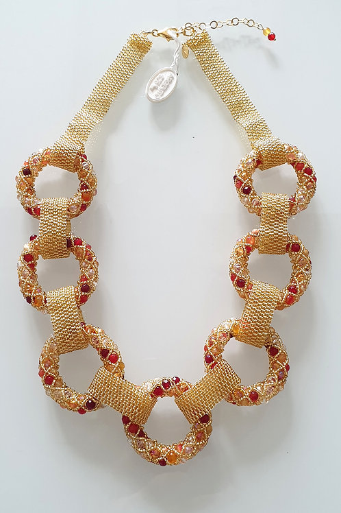 Unique Gold costume Murano glass beads hand made necklace by Paola B.