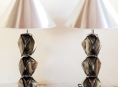 Pair of large Murano glass table lamps,  Cenedese style