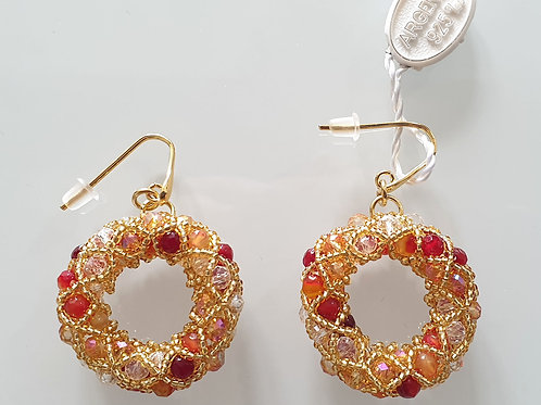 Pair of gold Murano glass beads hand made earrings by artist Paola B.