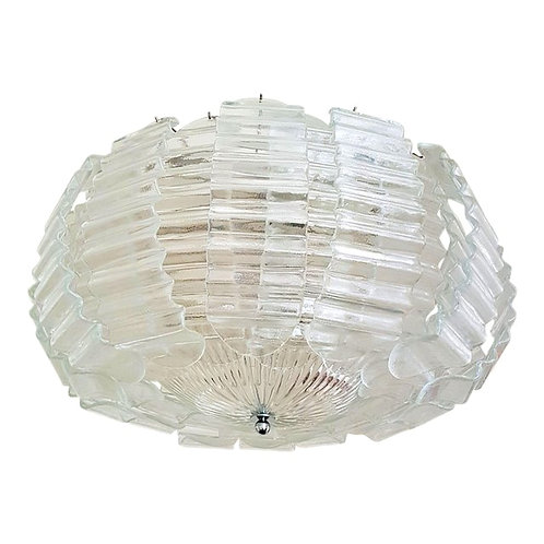 Large Mid Century Modern Clear Murano Glass Chandelier by Barovier.