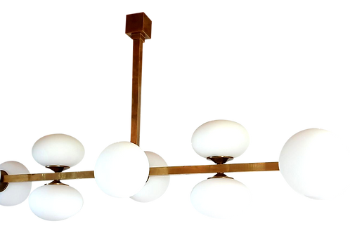 Very Long Brass and White Glass Mid-Century Modern Chandelier, Italy, 1970s