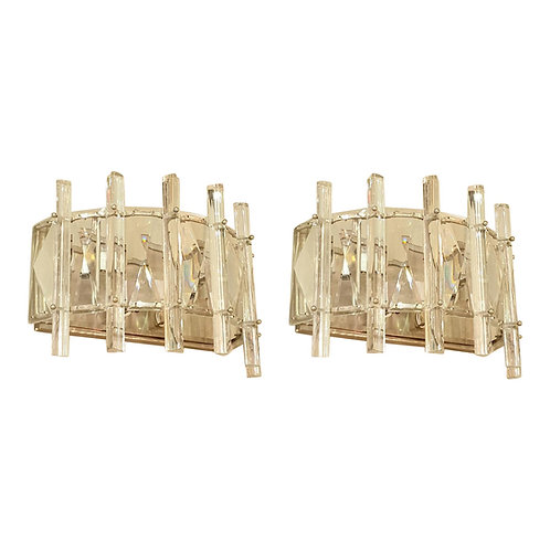 Large Mid-Century Modern Crystal and Chrome Sconces, France 1970s